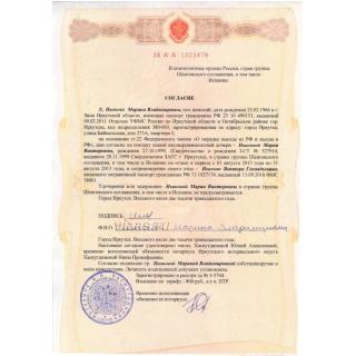 Согласие на выезд ребенка Шенген